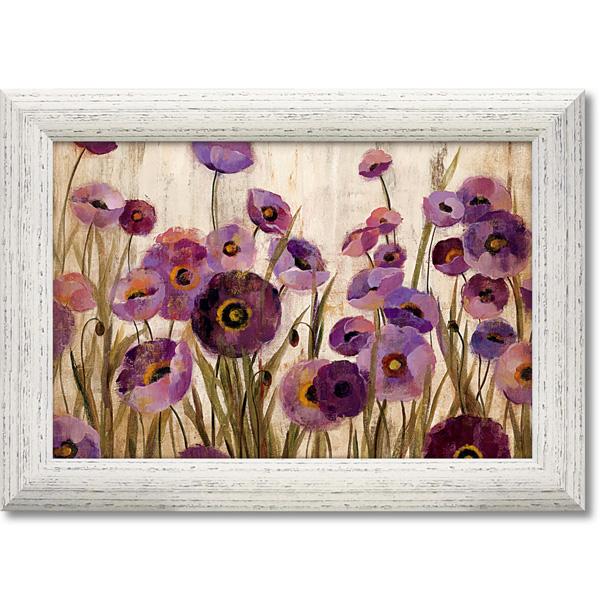 額縁付き 絵画 アートフレーム シルビア ヴァシレヴァ「ピンク アンド パープル フラワーズ」 SV-12001 -新品