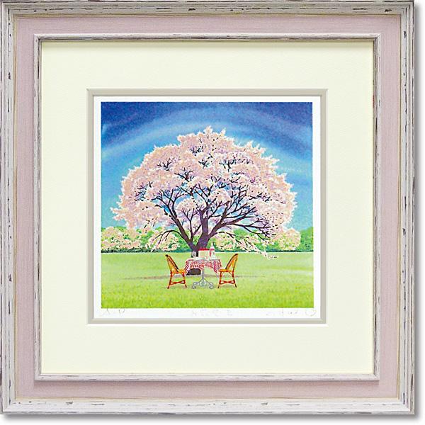 額縁付き アートフレーム ジグレー版画 くりのき はるみ 「お花見2」 KH-10110-新品
