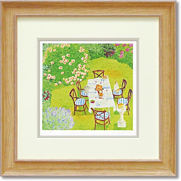 額縁付き アートフレーム ジグレー版画 くりのき はるみ 「庭ごはん」 KH-10131-新品