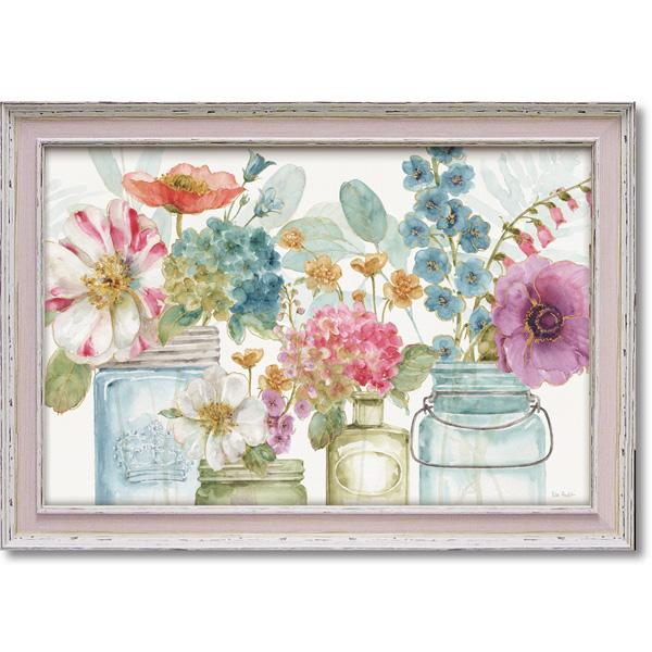 額縁付き 絵画 アートフレーム リサ オーディット「レインボー シード フラワー」 LA-08007 -新品