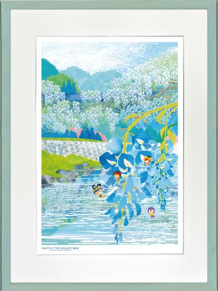 絵画 ジークレー版画 アートコレクション 額縁付 はりたつお みなしごハッチ 「愛のふじ橋」 大全紙 -新品