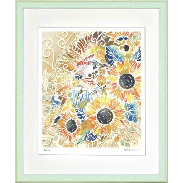 定番から日本未入荷 華やかな白い切り絵の世界 絵画 額装 品質保証 デジタル版画 太陽の王様 平石智美作 四ツ切サイズ -新品