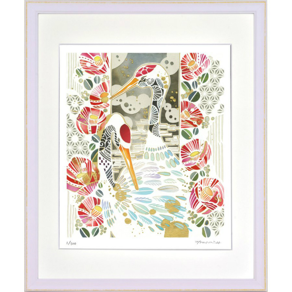 華やかな白い切り絵の世界 絵画 額装 40%OFFの激安セール 無料サンプルOK デジタル版画 四ツ切サイズ -新品 平石智美作 鶴と椿