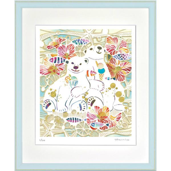華やかな白い切り絵の世界 絵画 額装 特別セール品 デジタル版画 しろくまの夏休み 四ツ切サイズ -新品 平石智美作 低価格