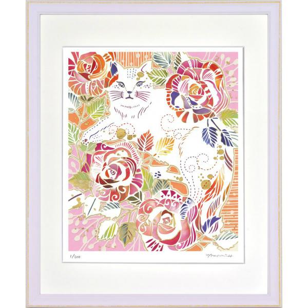 華やかな白い切り絵の世界 絵画 額装 デジタル版画 返品交換不可 -新品 蔵 四ツ切サイズ バラ模様のねこ 平石智美作