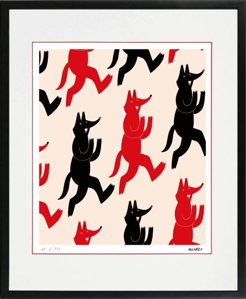 40%OFFの激安セール のびのびした動物たちの世界 格安 絵画 額装 デジタル版画 MEOMEO 作 -新品 狐の雨 四ツ切サイズ
