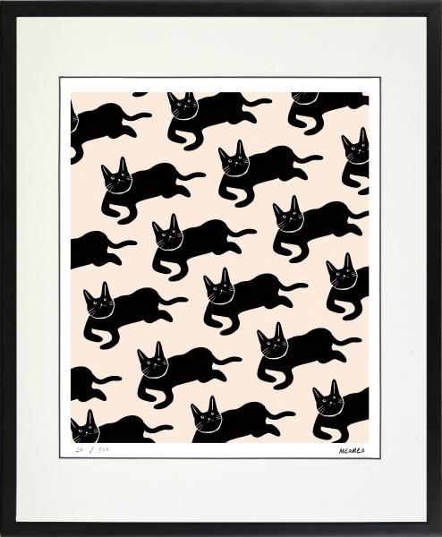 のびのびした動物たちの世界 絵画 額装 デジタル版画 新商品 ●手数料無料!! MEOMEO 猫の雨 作 四ツ切サイズ -新品