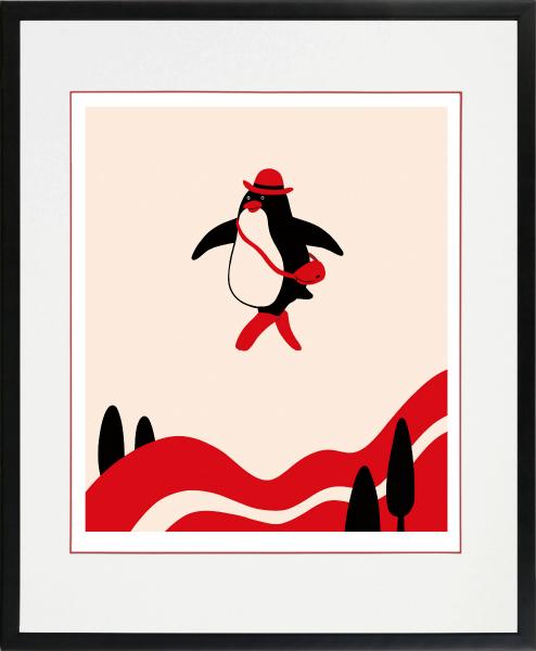 のびのびした動物たちの世界 絵画 ※ラッピング ※ 額装 デジタル版画 MEOMEO 作 高級品 四ツ切サイズ お出かけ日和 -新品