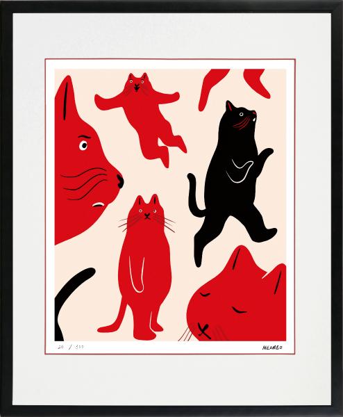 のびのびした動物たちの世界 絵画 額装 デジタル版画 早割クーポン MEOMEO 四ツ切サイズ 作 猫は自由に生きている 25%OFF -新品
