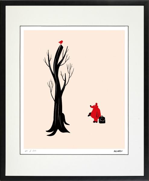 のびのびした動物たちの世界 贈与 絵画 額装 デジタル版画 年中無休 MEOMEO 作 -新品 四ツ切サイズ 鼠と木