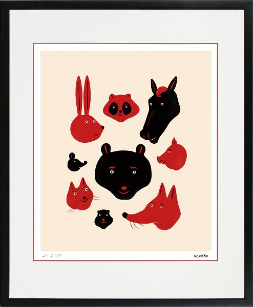 SEAL限定商品 のびのびした動物たちの世界 お得クーポン発行中 絵画 額装 デジタル版画 MEOMEO 作 四ツ切サイズ -新品 9匹の顔