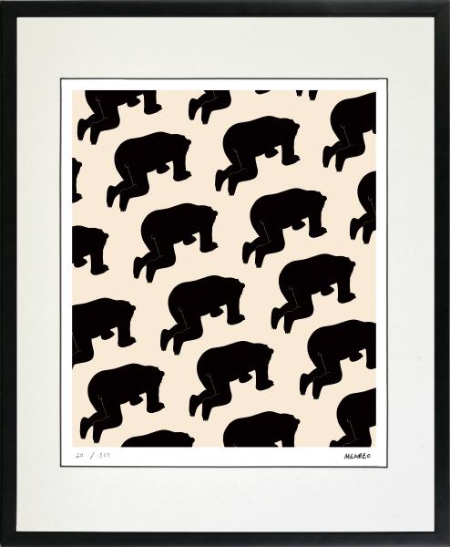 のびのびした動物たちの世界 絵画 蔵 額装 デジタル版画 MEOMEO 挫折する熊 -新品 作 定番スタイル 四ツ切サイズ