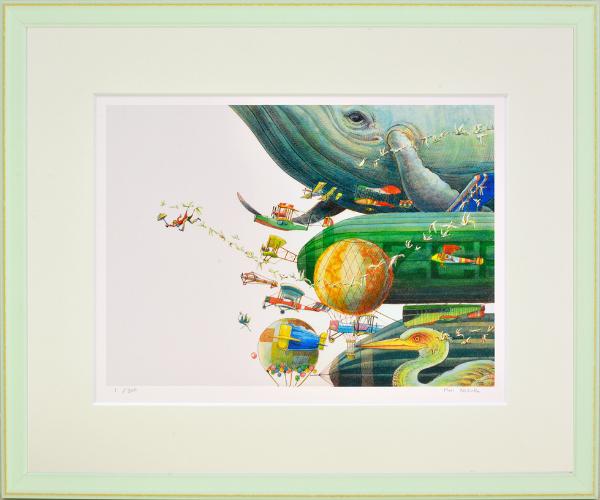 物語のワンシーンのような世界 絵画 額装 デジタル版画 堀乃布子 年末年始大決算 -新品 オリジナル 作 航路は霞 四ツ切サイズ