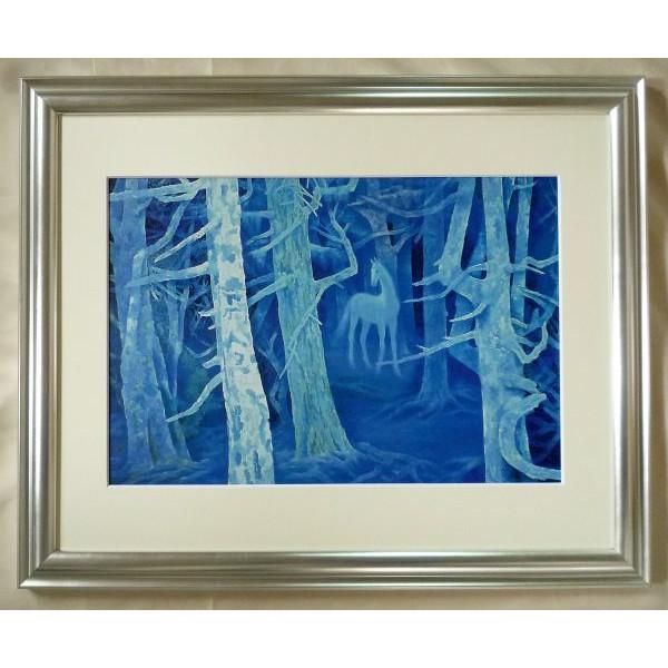 額装複製画 東山魁夷作 「白馬の森」 F6号特寸 世界の名画シリーズ プリハード-新品 -送料無料