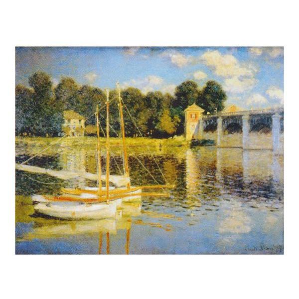 クロード・モネ作 「アルジャントューユの橋」 F6号 額縁付 世界の名画シリーズ プリハード-新品