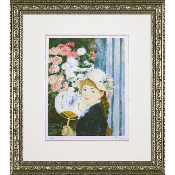 額縁付き ミュージアムシリーズ ジグレー版画 ルノワール「団扇を持つ少女」 MW-18039-新品