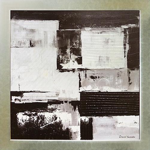 額縁付き 絵画 アートフレーム デビッド セダリア「ブラックホワイトの象形」 DS-22001-新品