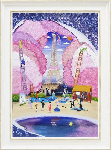 額縁付き 絵画 アートフレーム なかの まりの「花の都 江戸」 NM-08002-新品