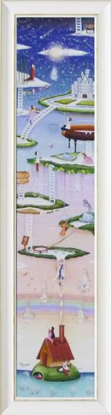 額縁付き 絵画 アートフレーム なかの まりの「星降る海(Lサイズ)」 NM-15005-新品