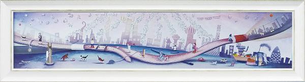 額縁付き 絵画 アートフレーム なかの まりの「トワイライトゾーン(Lサイズ)」 NM-15003-新品