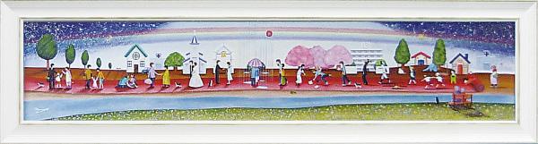 額縁付き 絵画 アートフレーム なかの まりの「人生のレッドカーペット(Mサイズ)」 NM-08008-新品