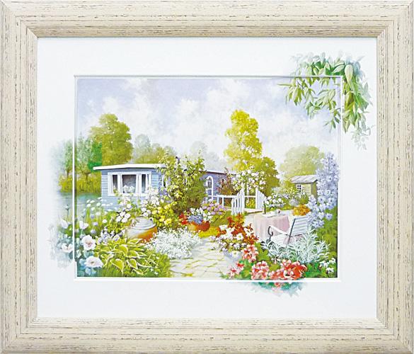 優しく繊細な風景 額縁付き 定価の67%OFF 絵画 アートフレーム ピーター 無料サンプルOK PM-15044-新品 モッツ ハウスボート