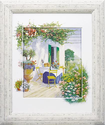 額縁付き 絵画 アートフレーム ピーター モッツ「ベランダ イン ブルーム1」 PM-12036-新品