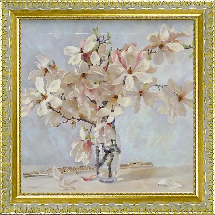 額縁付き 絵画 アートフレーム バレリー チュイコフ「マグノリア」 VC-15002-新品