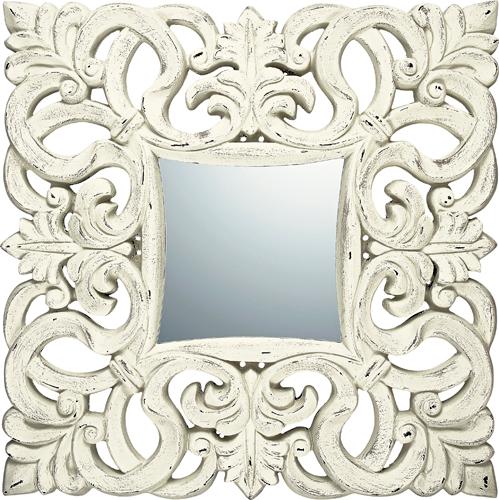 インテリア 鏡 壁掛け グレース アート ミラー「ノーブル・L(アンティークホワイト)」 GM-18011 -新品