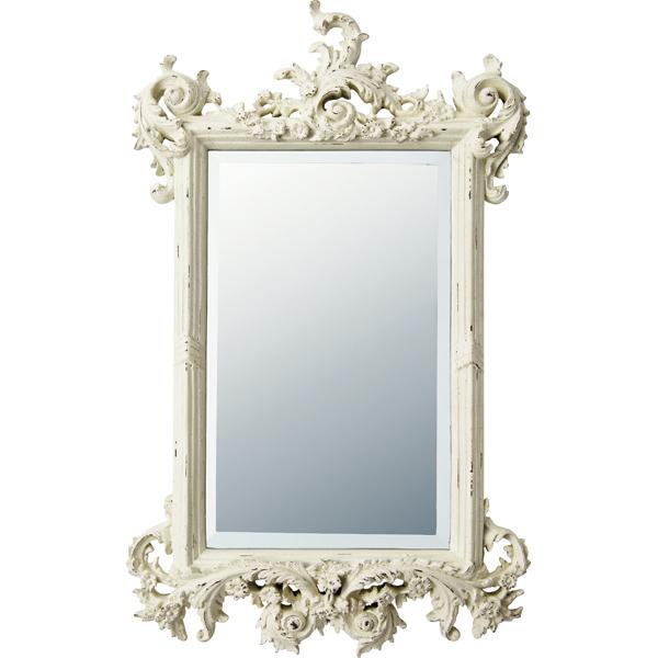 インテリア 鏡 壁掛け グレース アート ミラー「フォリッジ(アンティークホワイト)」 GM-15011 -新品
