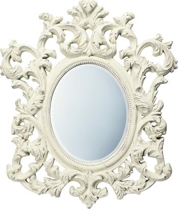 インテリア 鏡 壁掛け グレース アート ミラー「アルゴス(アンティークホワイト)」 GM-30011 -新品