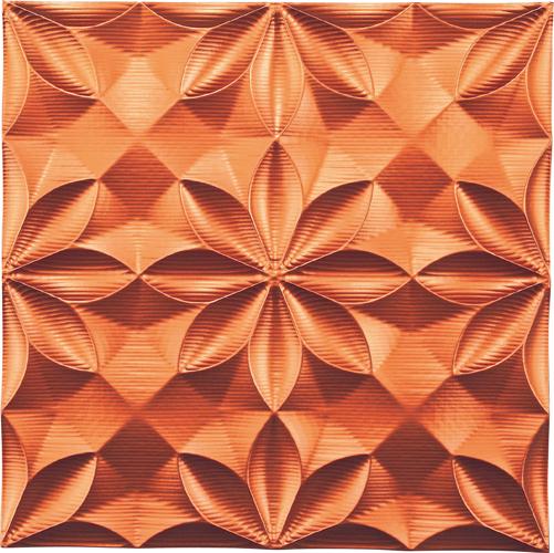 インテリア プラデック ウォール アート 「ビッグフローラル(メタルオレンジ)」 PL-18019-新品