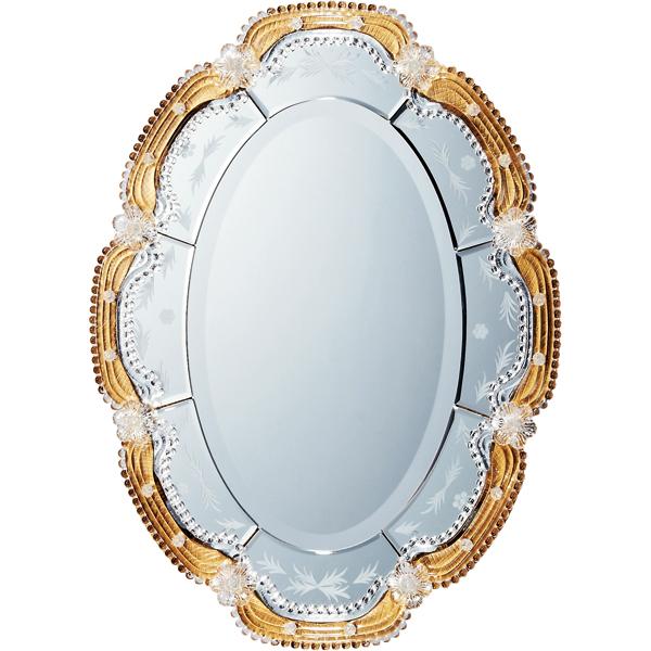 インテリア 鏡 壁掛け ムラーノ スタイル ミラー「オルビア(ゴールド)」 MM-43001 -新品
