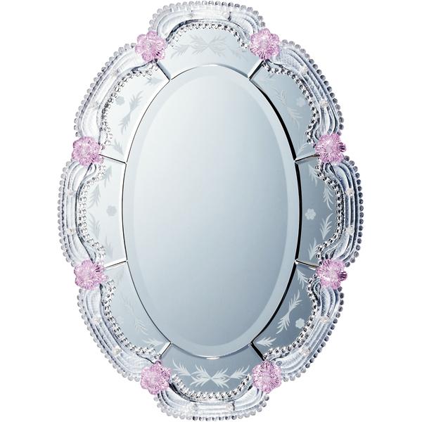 インテリア 鏡 壁掛け ムラーノ スタイル ミラー「オルビア(シルバー)」 MM-43002 -新品