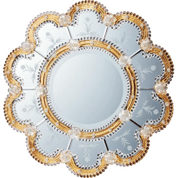 インテリア 鏡 壁掛け ムラーノ スタイル ミラー「スカンディッチ(ゴールド)」 MM-55001 -新品