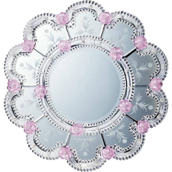 インテリア 鏡 壁掛け ムラーノ スタイル ミラー「スカンディッチ(シルバー)」 MM-55002 -新品