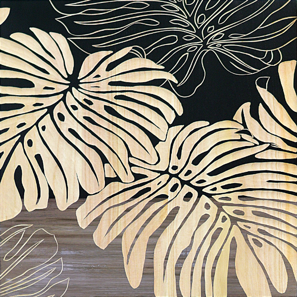 インテリア アート 壁掛け ウッドスカルプチャーアート「ワイルド モンステラ(BK+NP)」 SA-15052-新品