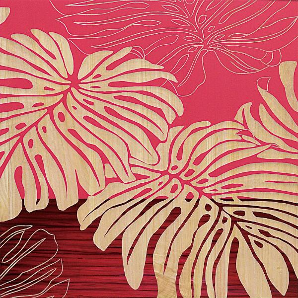 インテリア アート 壁掛け ウッドスカルプチャーアート「ワイルド モンステラ(RD+NP)」 SA-15053-新品