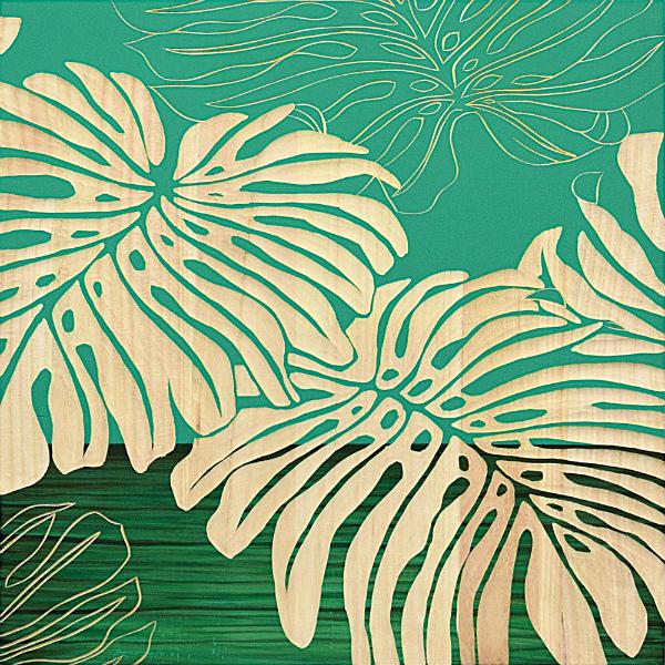 インテリア アート 壁掛け ウッドスカルプチャーアート「ワイルド モンステラ(GR+NP)」 SA-15054-新品