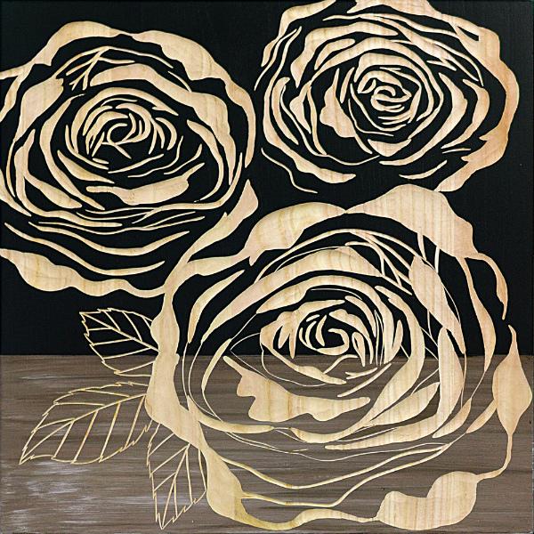 インテリア アート 壁掛け ウッドスカルプチャーアート「フル ローゼズ2(BK+NP)」 SA-15063-新品