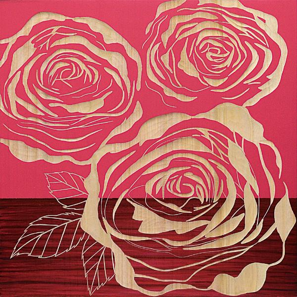 インテリア アート 壁掛け ウッドスカルプチャーアート「フル ローゼズ2(RD+NP)」 SA-15064-新品