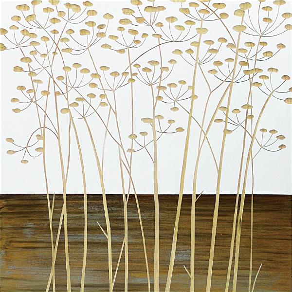インテリア アート 壁掛け ウッドスカルプチャーアート「フィールド フラワー2(WH+NP)」 SA-15065-新品