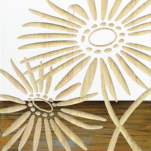 インテリア アート 壁掛け ウッドスカルプチャーアート「ネーチャー ガーベラ2(WH+NP)」 SA-15067-新品