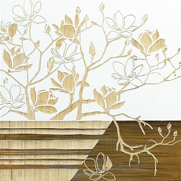 インテリア アート 壁掛け ウッドスカルプチャーアート「マグノリア with ベース(WH+NP)」 SA-15071-新品