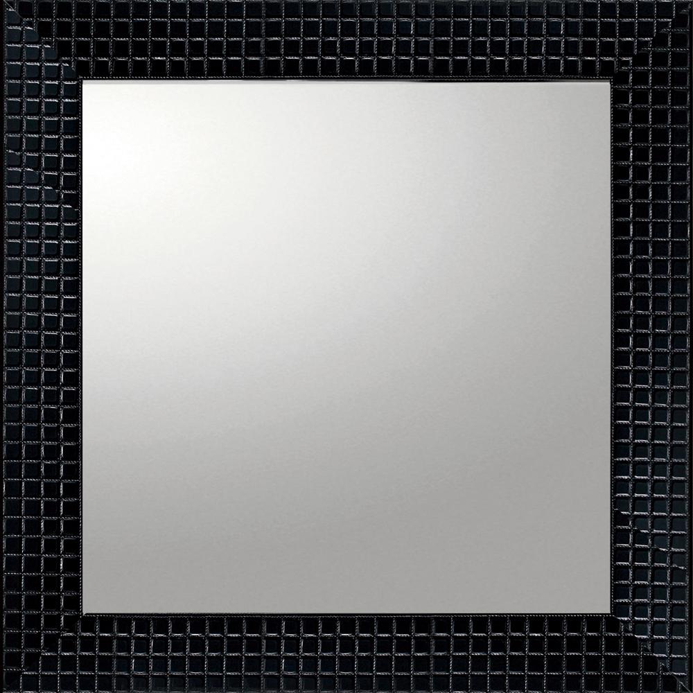 インテリア 鏡 壁掛け デコラティブ 大型ミラー タイル「正方形(ブラック)」 BM-14021 -新品