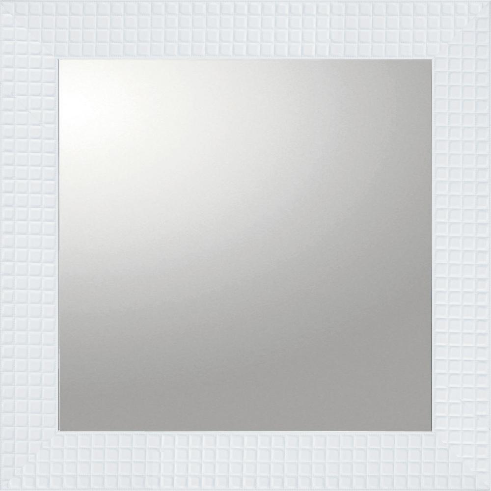 インテリア 鏡 壁掛け デコラティブ 大型ミラー タイル「正方形(ホワイト)」 BM-14022 -新品