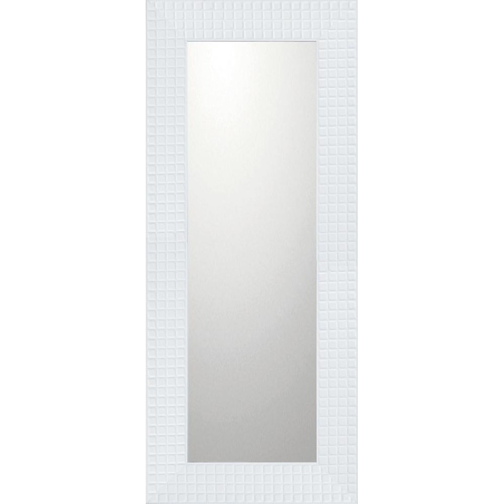 インテリア 鏡 壁掛け デコラティブ 大型ミラー タイル「ロング(ホワイト)」 BM-14032 -新品