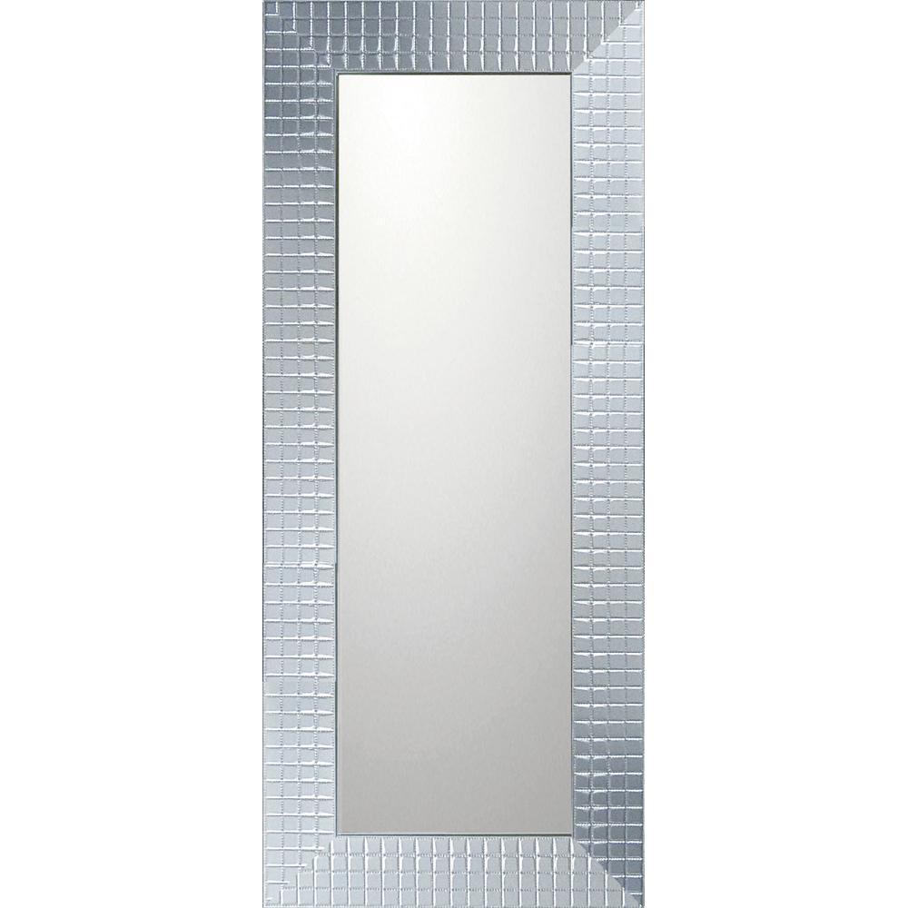インテリア 鏡 壁掛け デコラティブ 大型ミラー タイル「ロング(シルバー)」 BM-14033 -新品