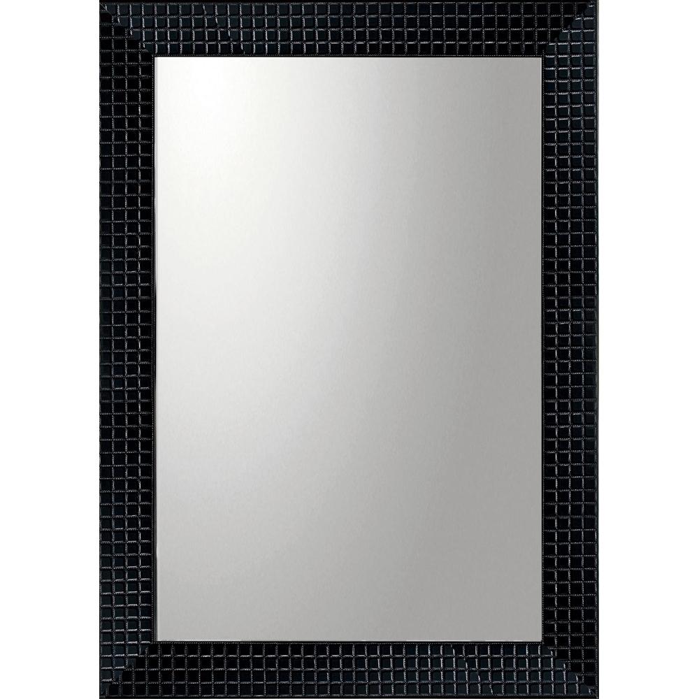 インテリア 鏡 壁掛け デコラティブ 大型ミラー タイル「長方形(ブラック)」 BM-20021 -新品
