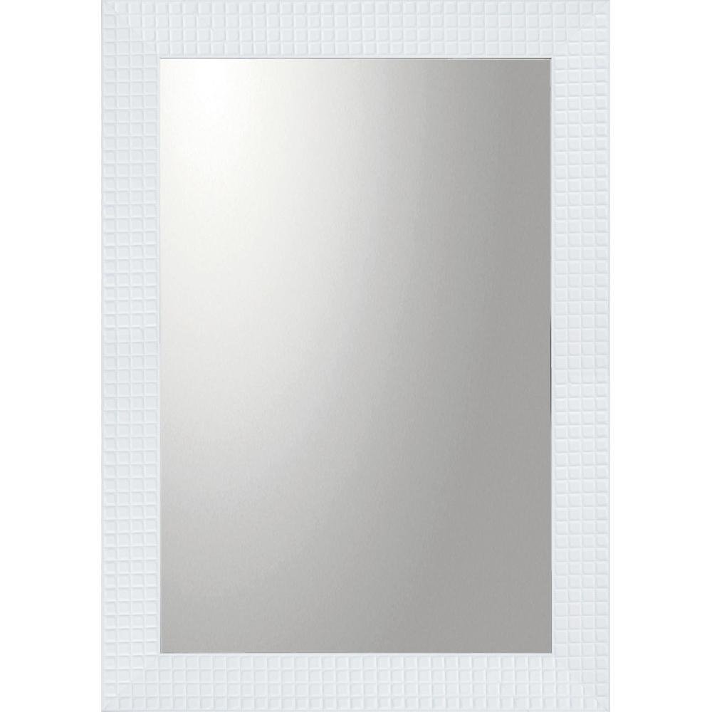 インテリア 鏡 壁掛け デコラティブ 大型ミラー タイル「長方形(ホワイト)」 BM-20022 -新品